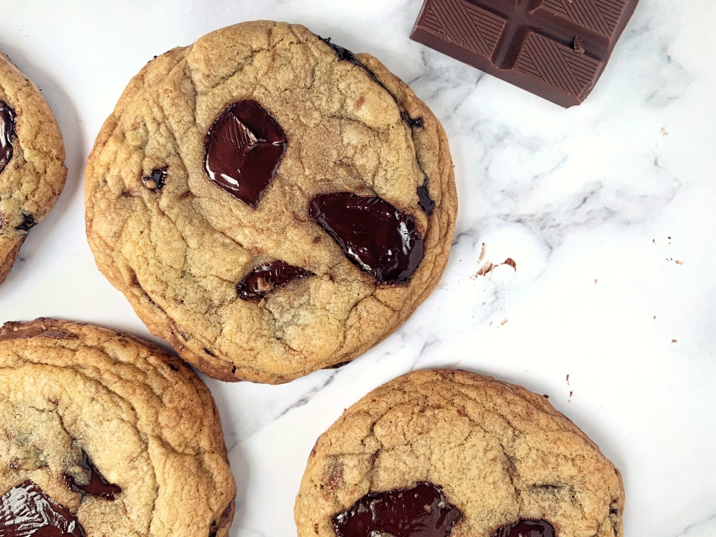 Chocolate chunk cookies on a marble background